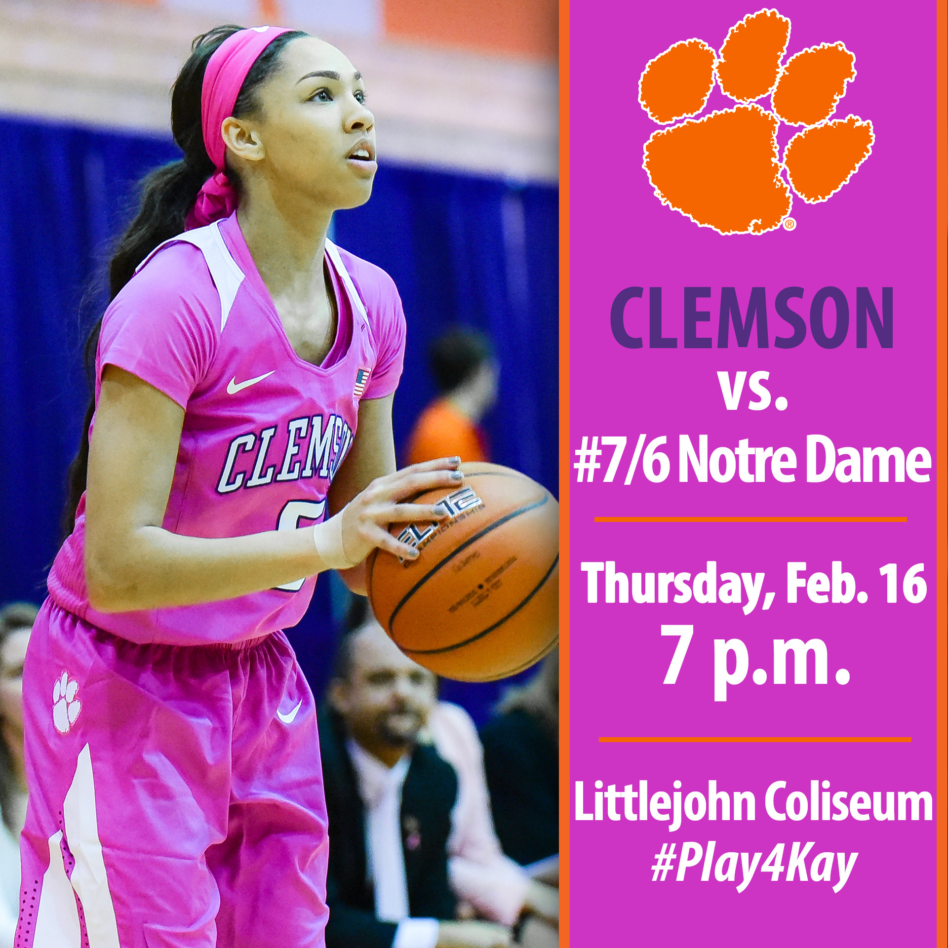 Clemson Hosts No. 7/6 Notre Dame in #Play4Kay Game Thursday