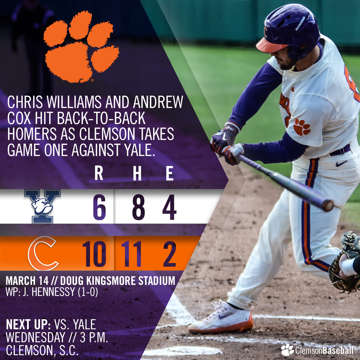 Tigers Rally To Down Yale 10-6