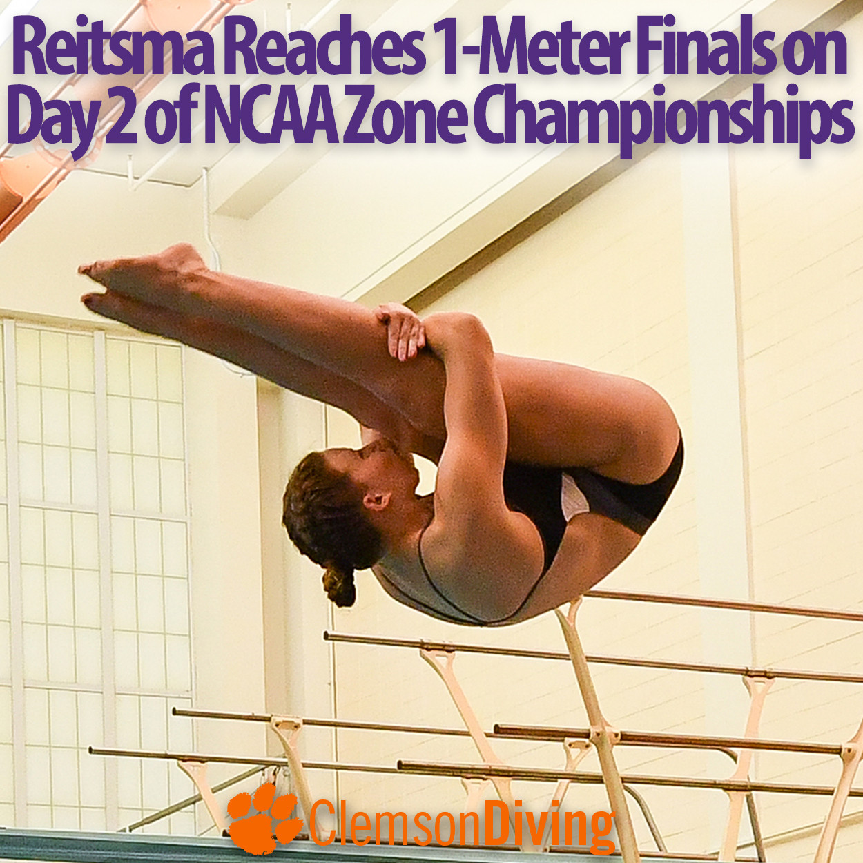 Reitsma Qualifies for Finals, Finishes 18th in One-Meter at NCAA Zones Tuesday