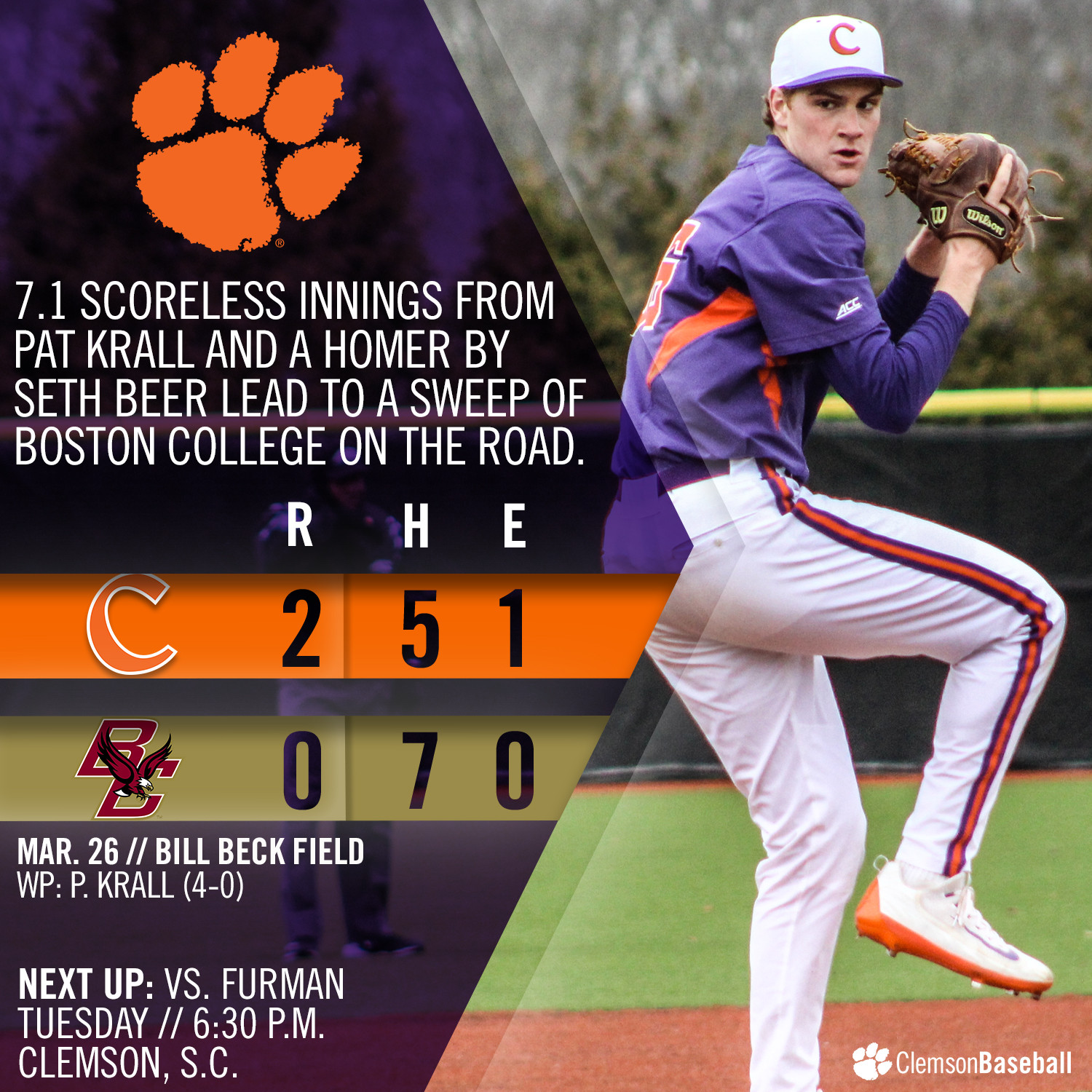 Tigers Sweep BC With 2-0 Win