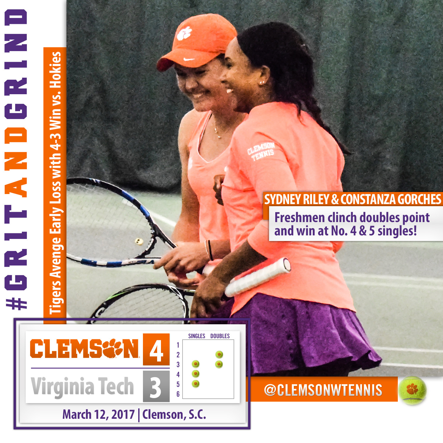 Tigers Avenge Early-Season Loss with 4-3 Win over Virginia Tech