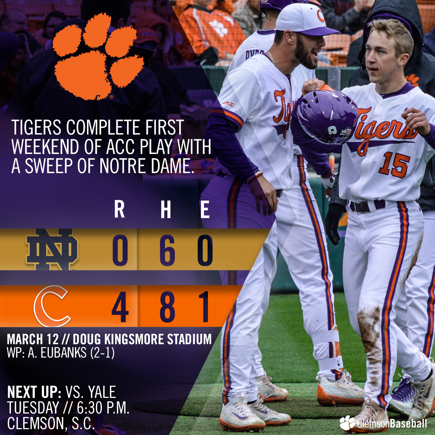 Clemson Sweeps ND With 4-0 Win