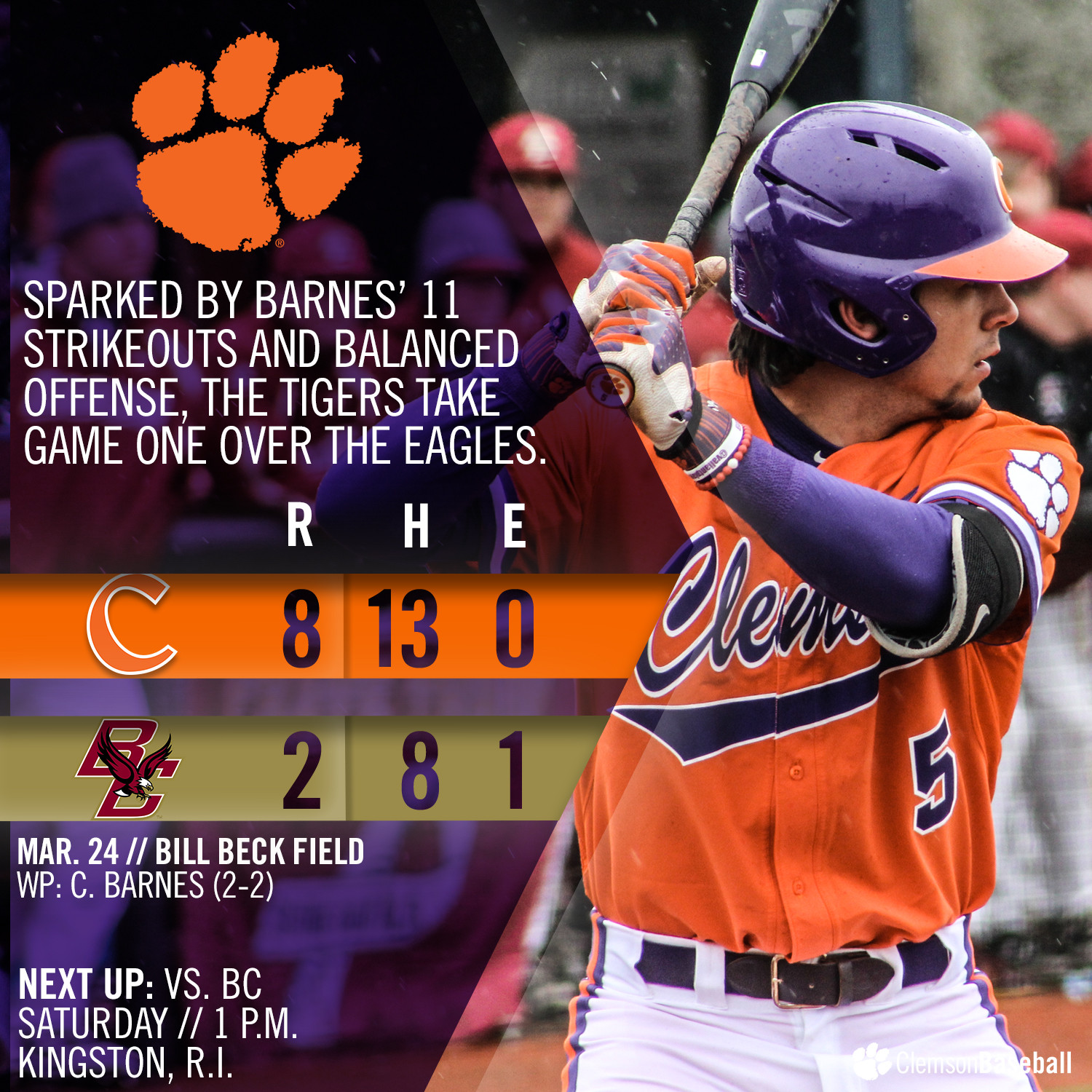 No. 6 Tigers Defeat Eagles 8-2