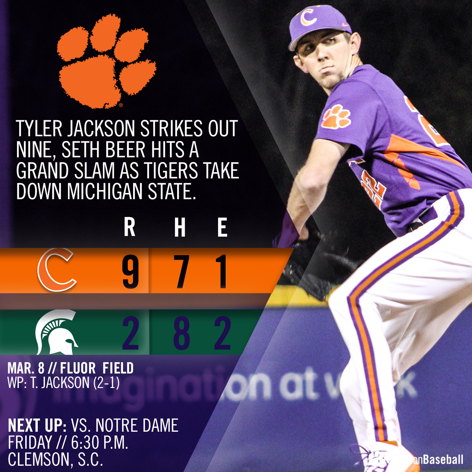 No. 9 Tigers Defeat MSU 9-2