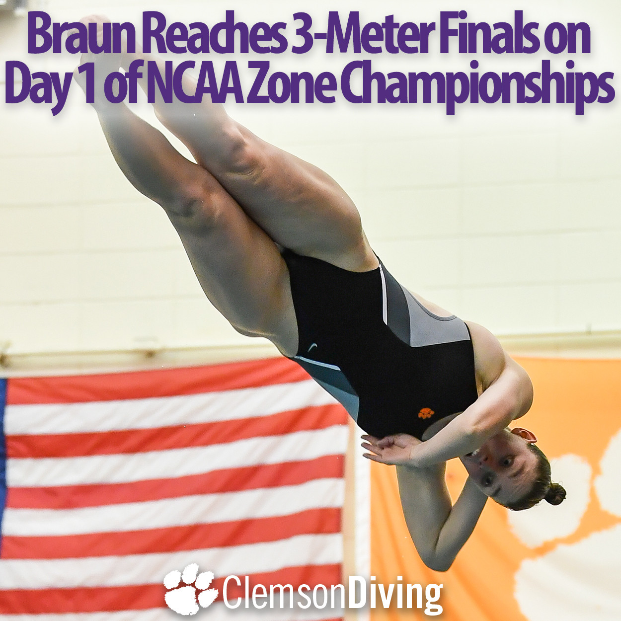 Braun Reaches Finals to Highlight 3-Meter Action at NCAA Zones Monday