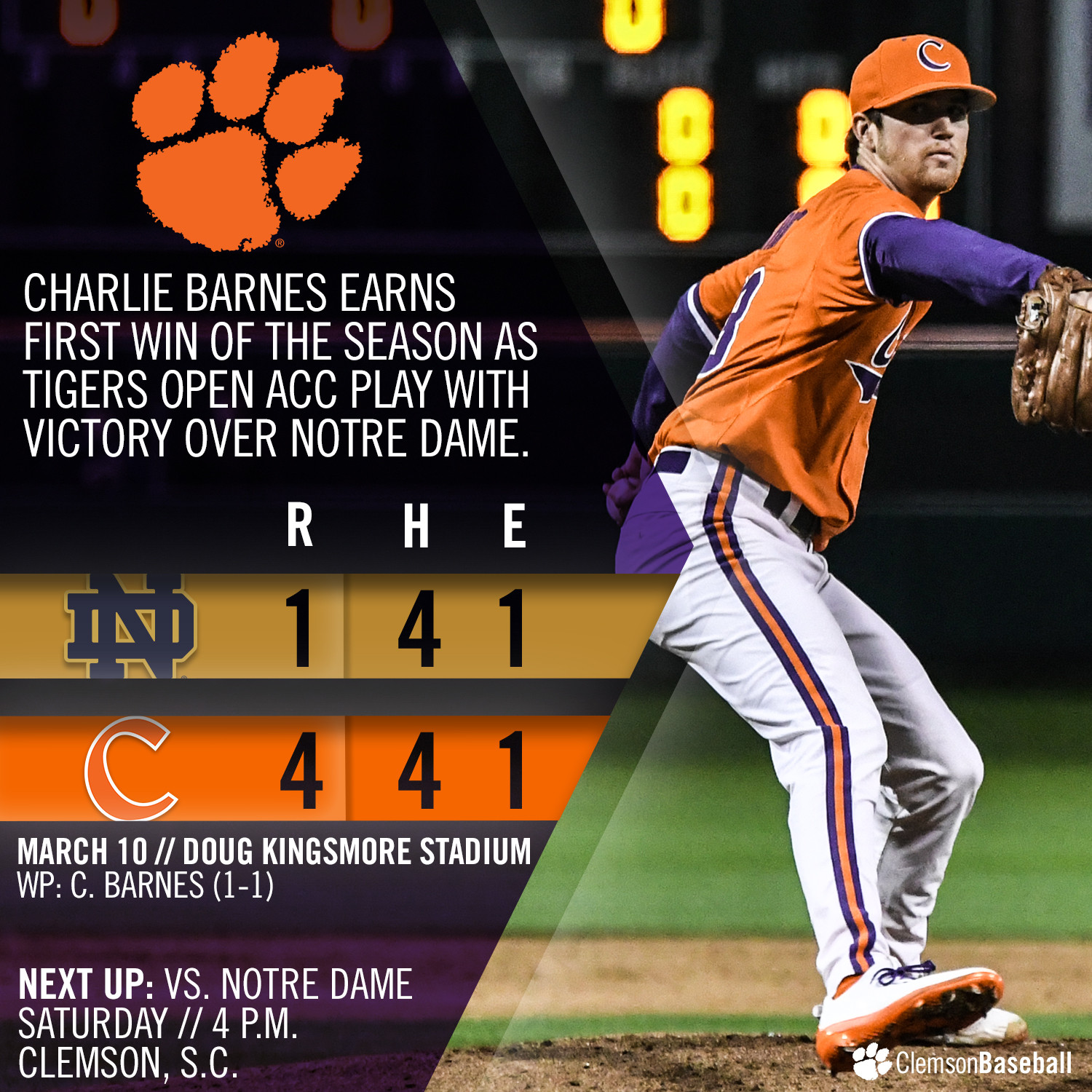 No. 9 Tigers Top ND 4-1