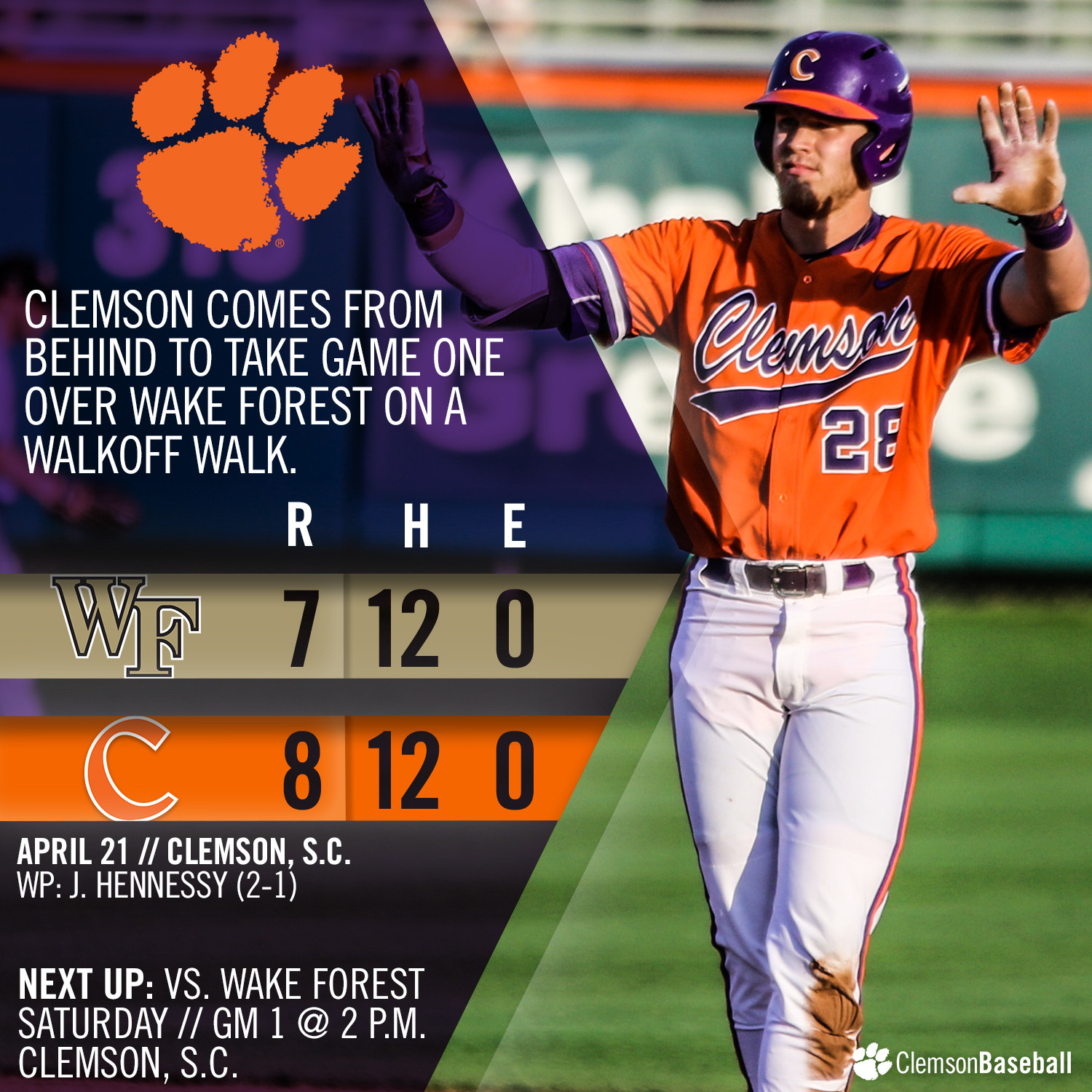 CU Rallies For 8-7 Win Over WF