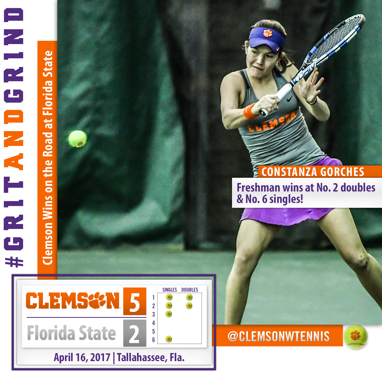 Clemson Rebounds with 5-2 Road Win at Florida State