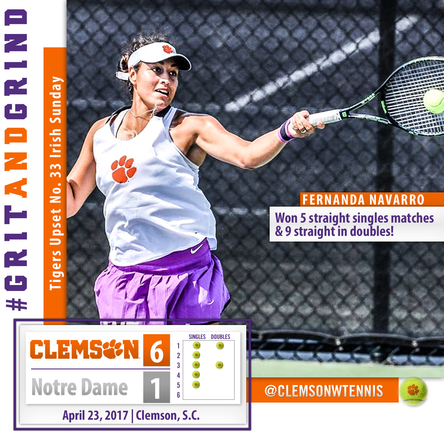 Clemson Concludes Regular Season with 6-1 Upset over #33 Notre Dame