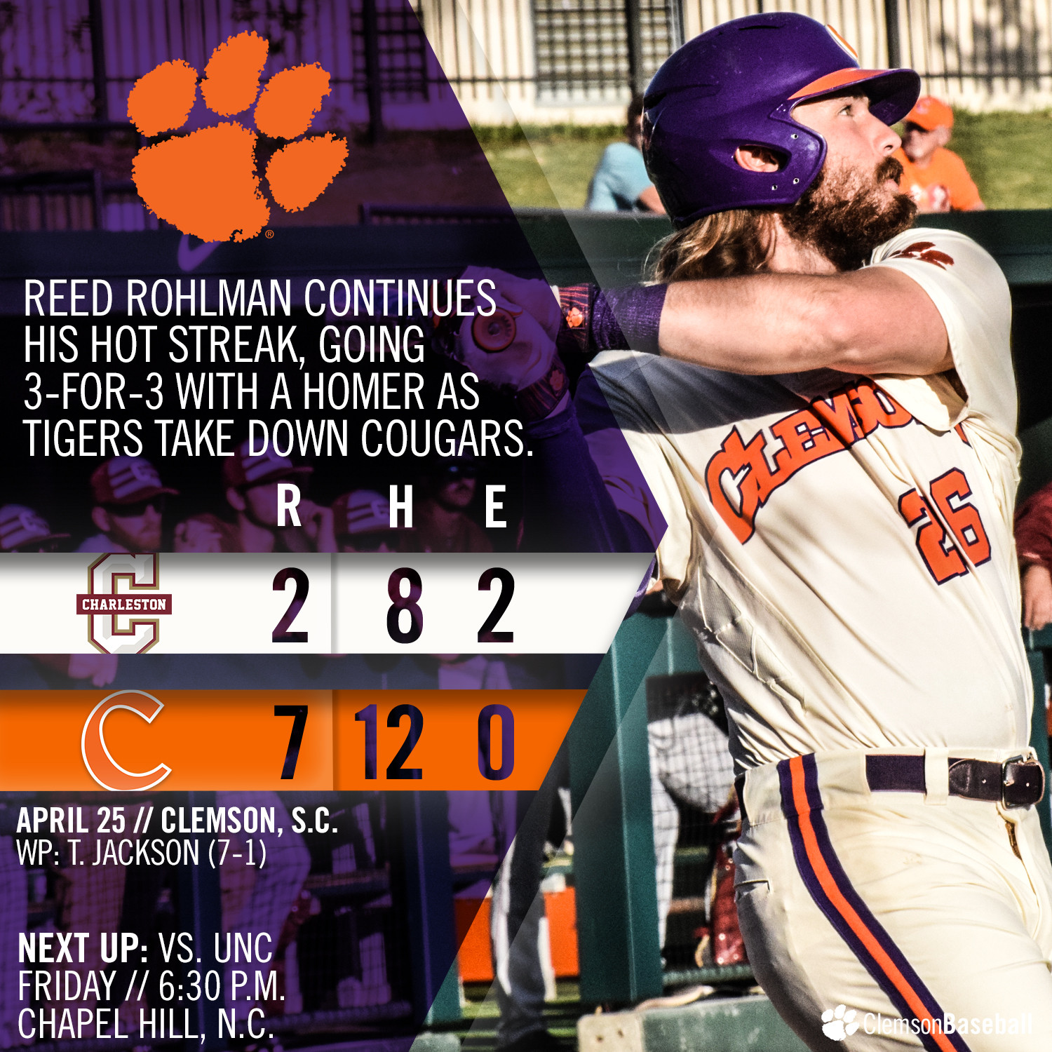 No. 3 Tigers Down Cougars 7-2