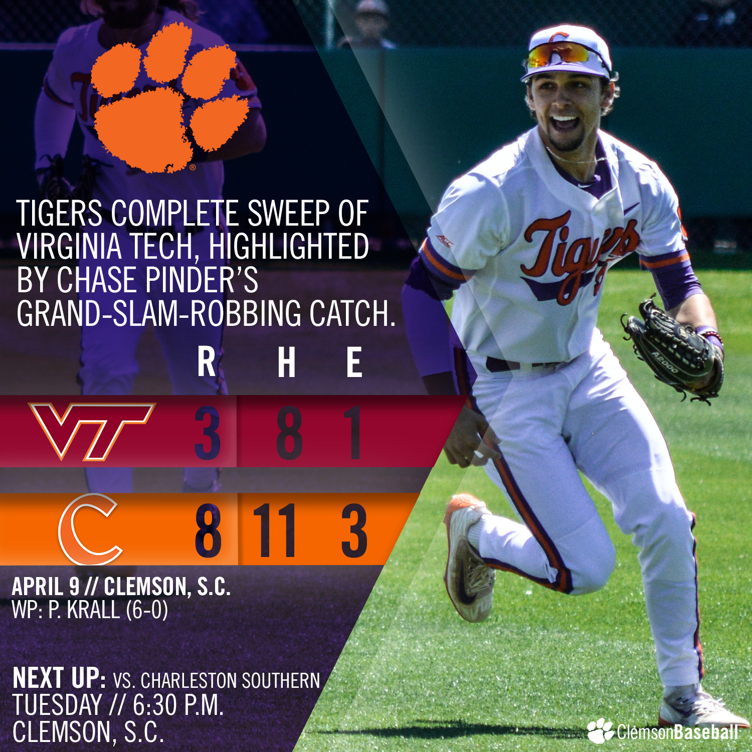 Tigers Sweep VT With 8-3 Win