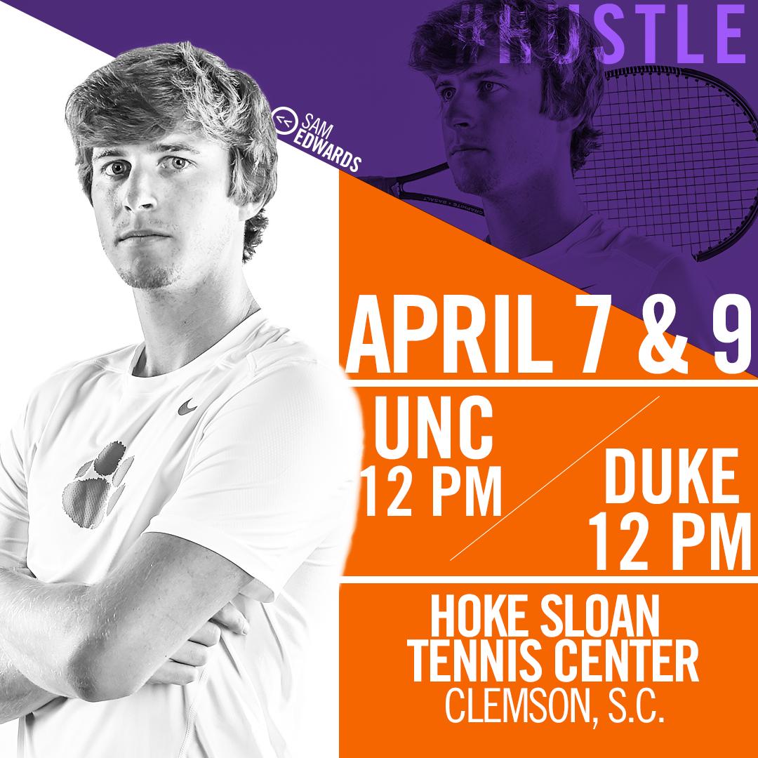 Clemson Hosts No. 11 North Carolina and No. 43 Duke