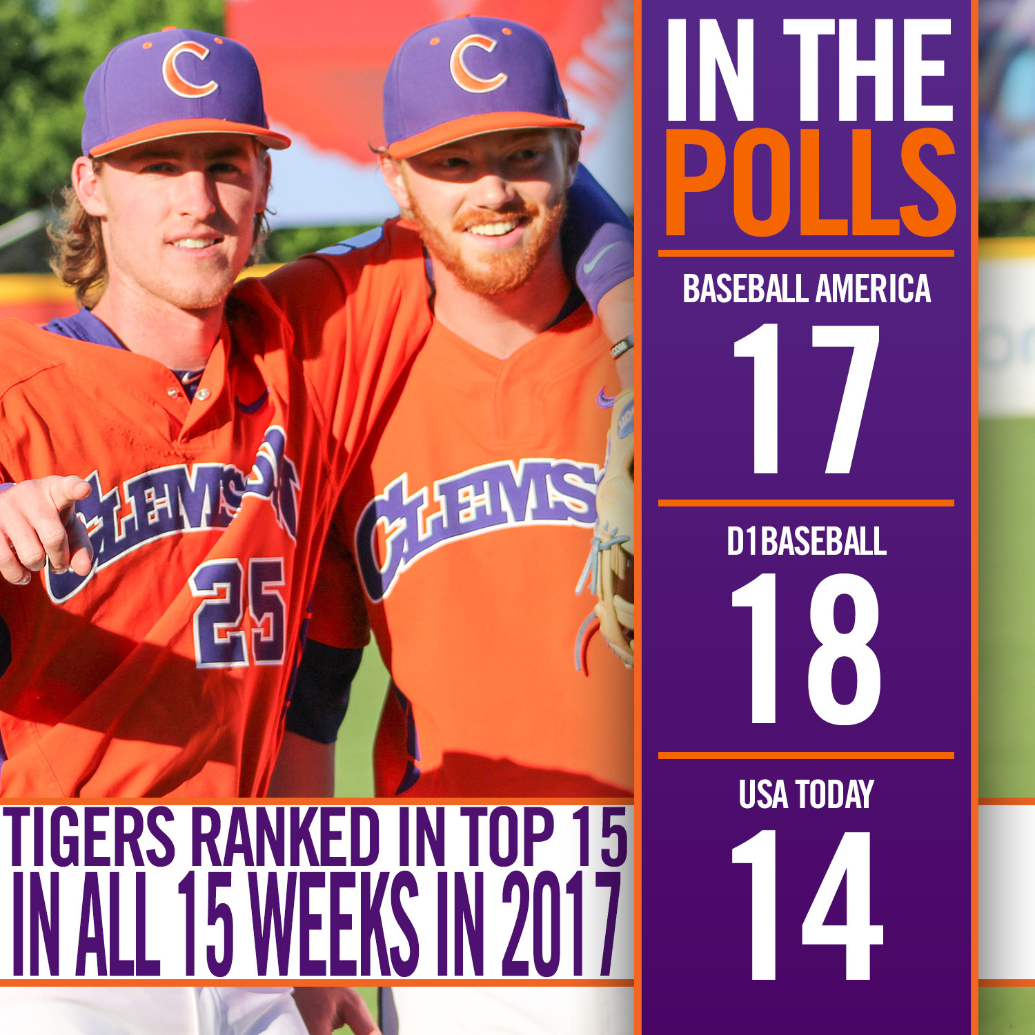 Tigers No. 14 In Coaches Poll