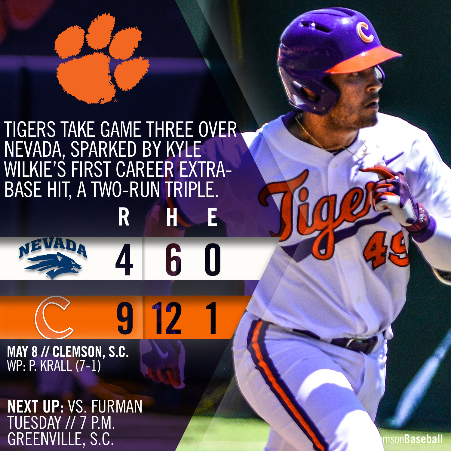 Clemson Outlasts Wolf Pack 9-4