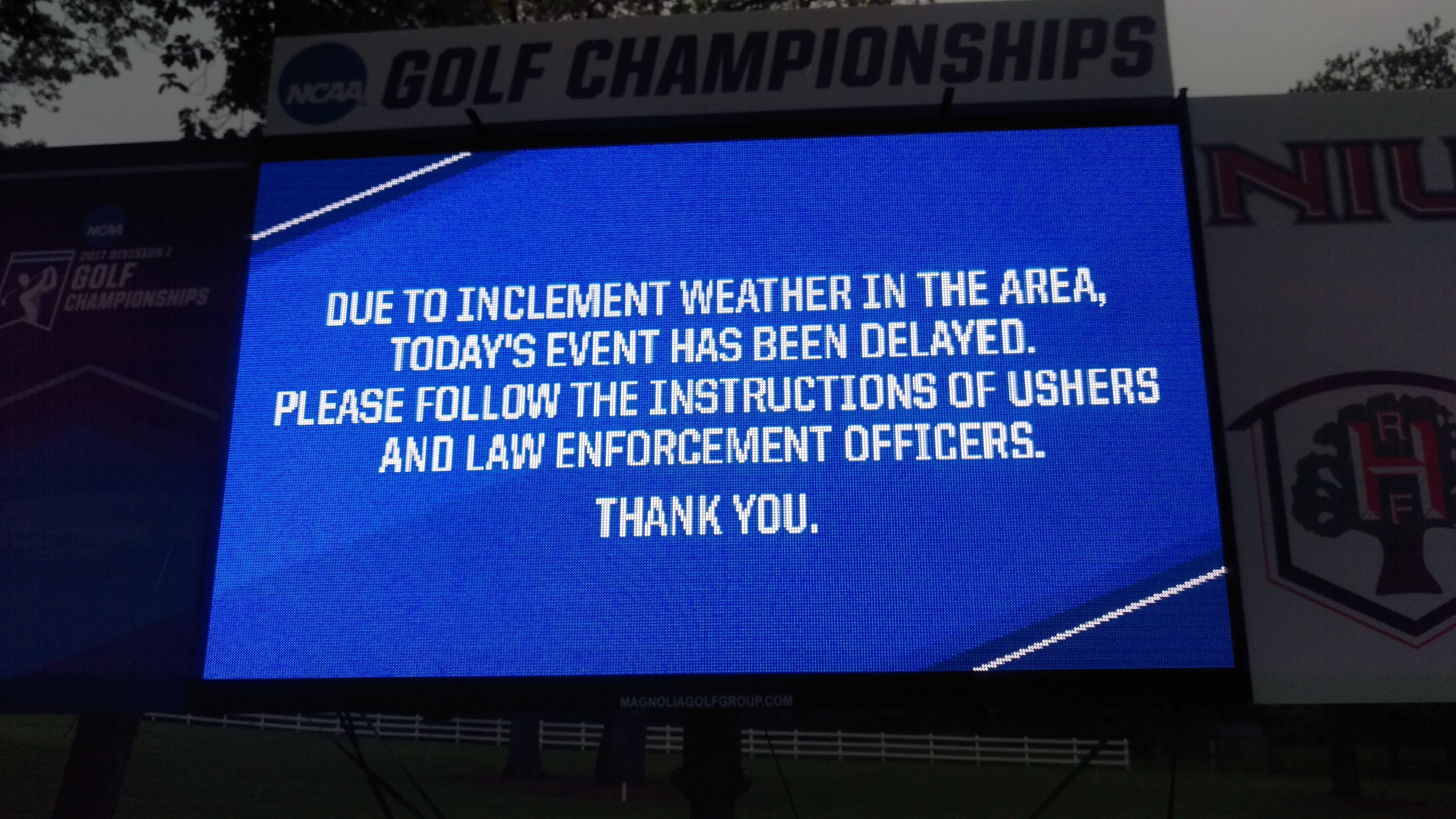 Weather Delay at NCAA Golf Championships