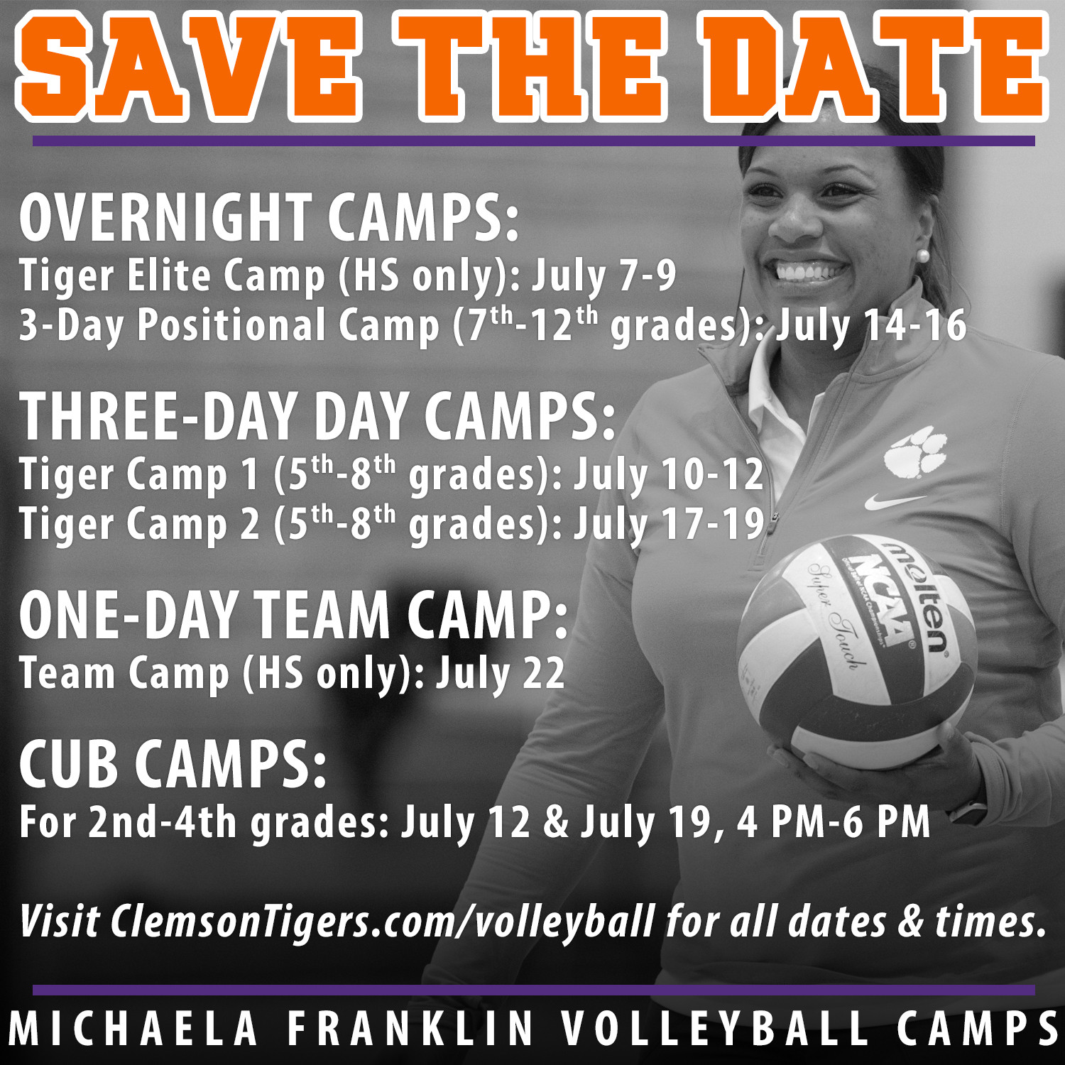 Summer 2017 Dates Announced For Michaela Franklin Volleyball Camps Clemson Tigers Official Athletics Site