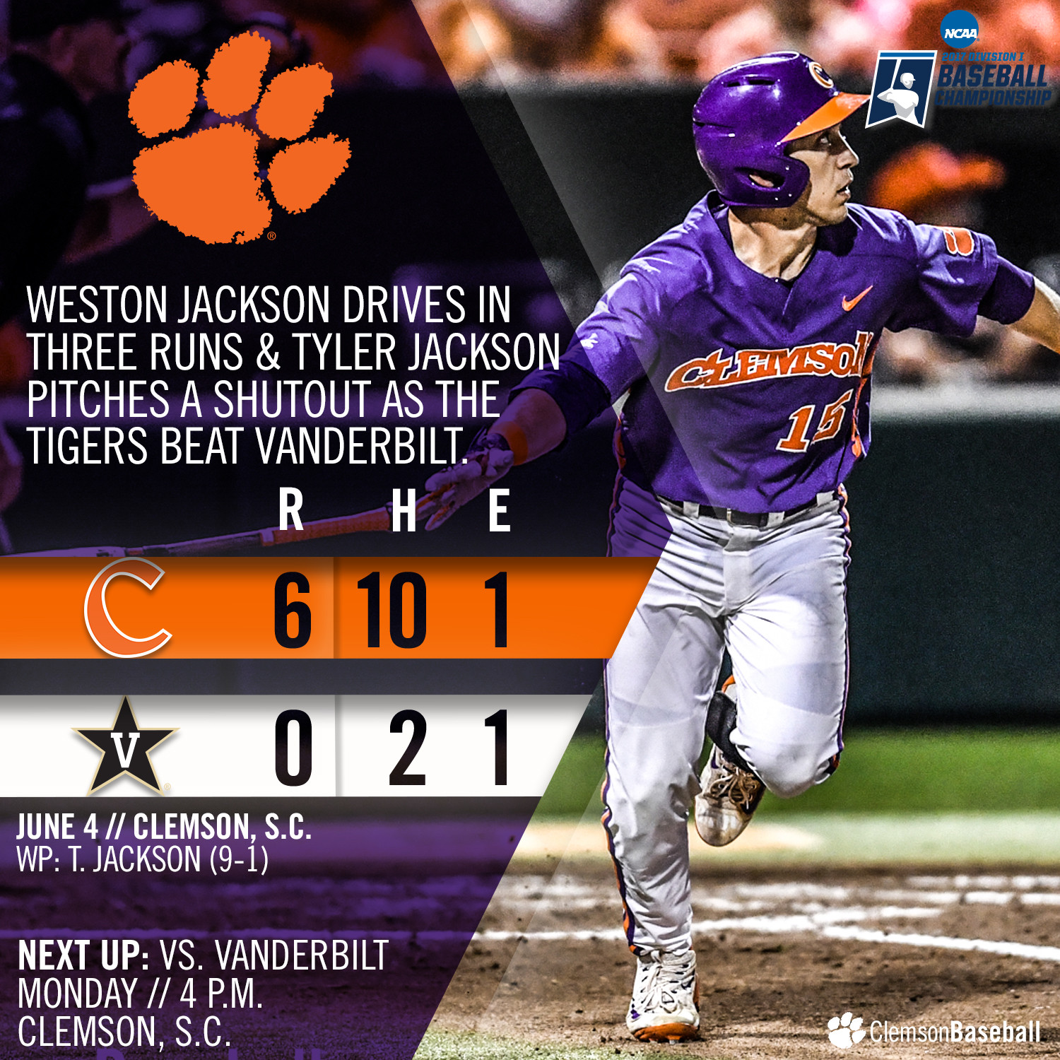 Tigers Blank Commodores 6-0