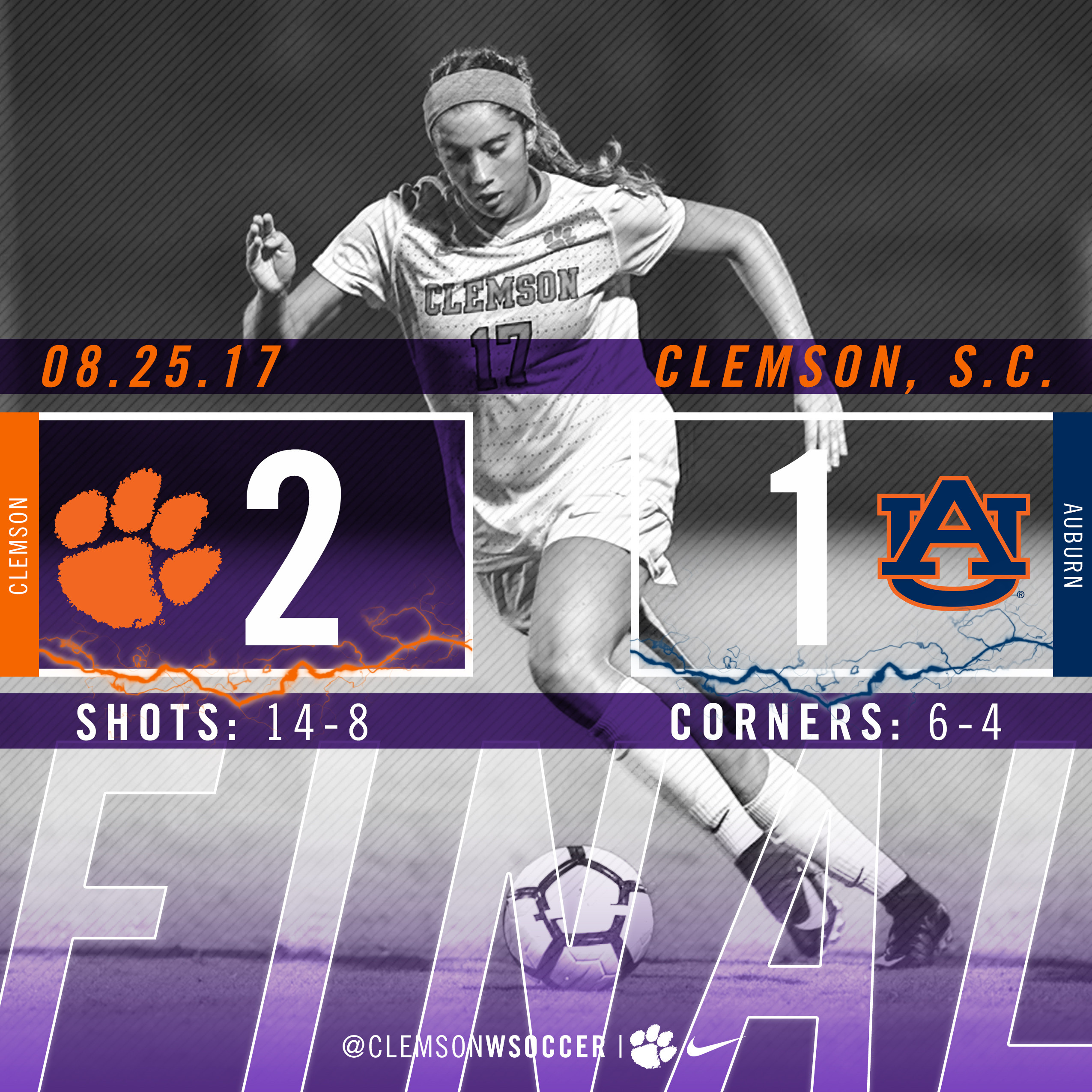 No. 13 Clemson Defeats No. 20 Auburn 2-1 in Double-Overtime