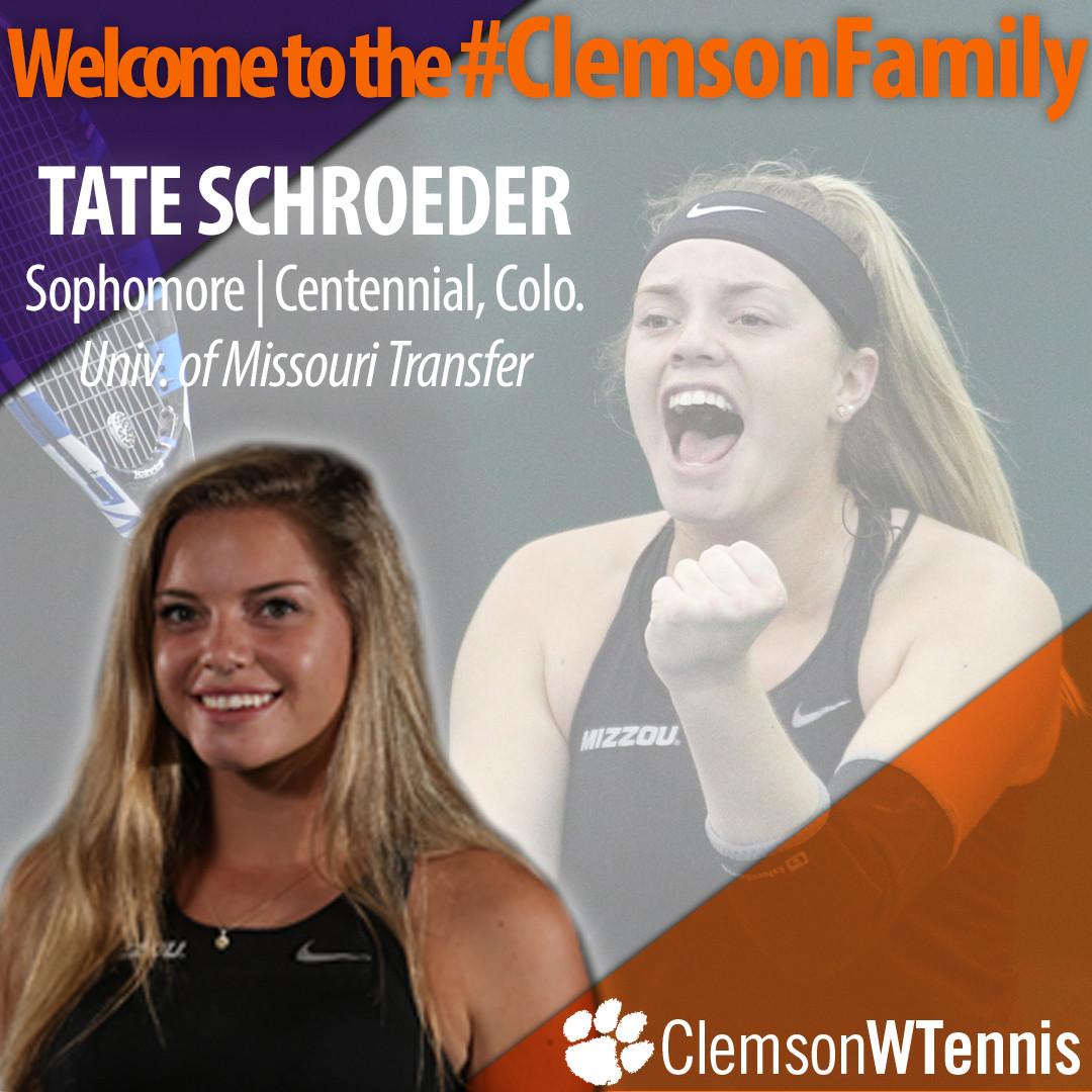 Clemson Women's Tennis Adds Transfer Tate Schroeder