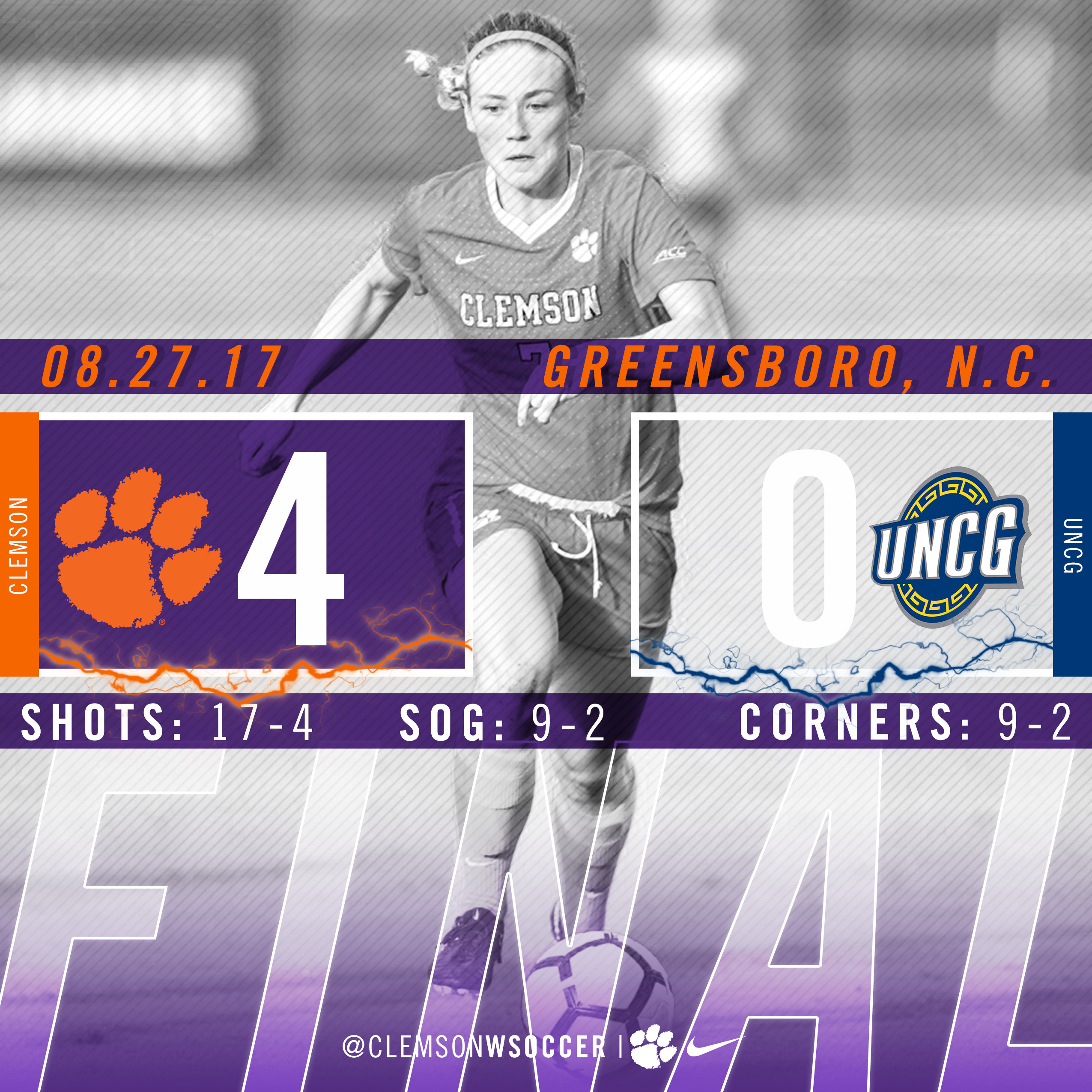 No. 13 Clemson Defeats UNCG in Homecoming for Eddie Radwanski