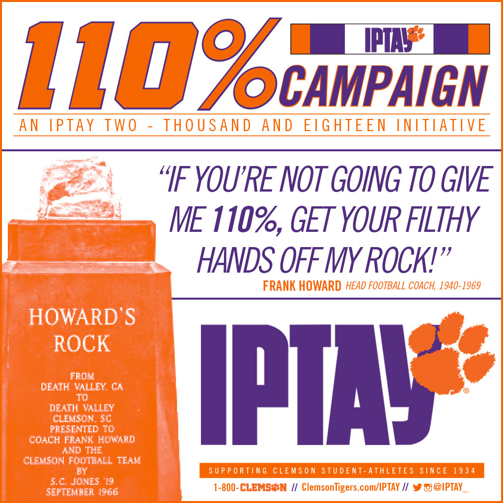 IPTAY Introduces 110% Campaign for FY 2018