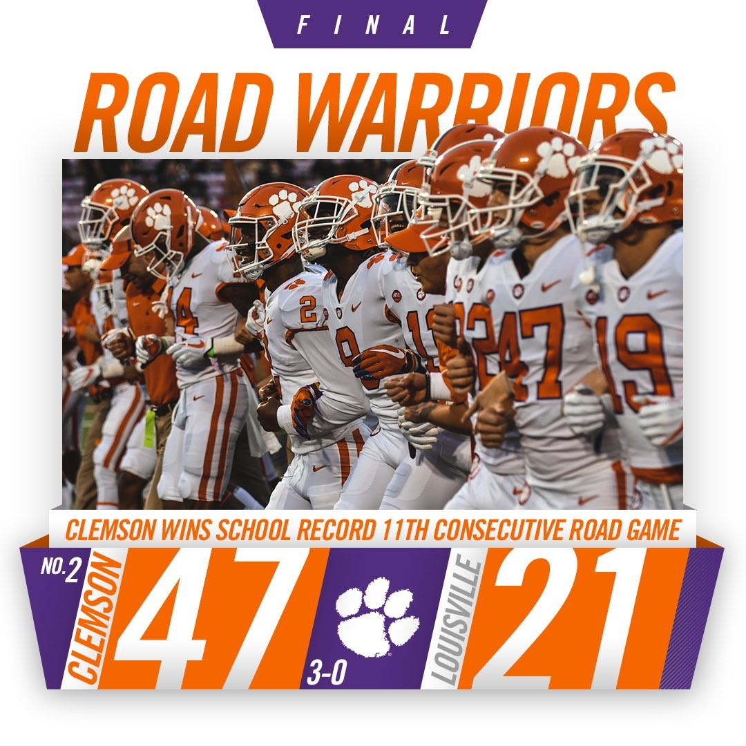No. 2 Clemson Trounces No. 14 Louisville 47-21