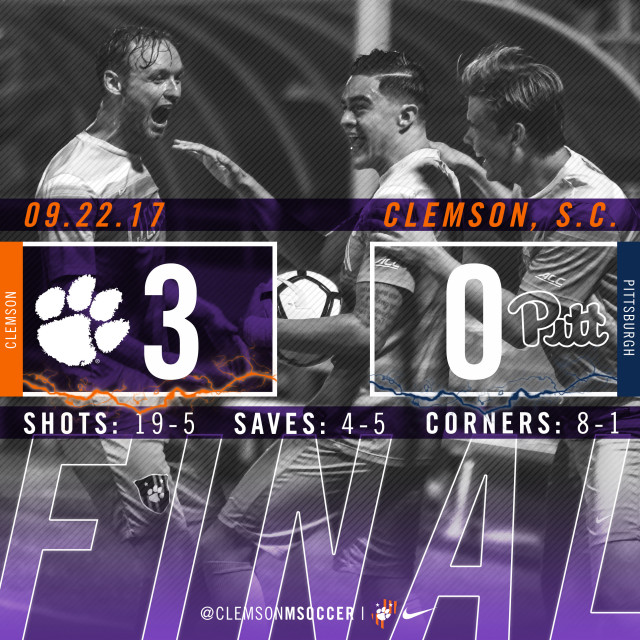 No. 8 Clemson Shuts Out Pittsburgh 3-0