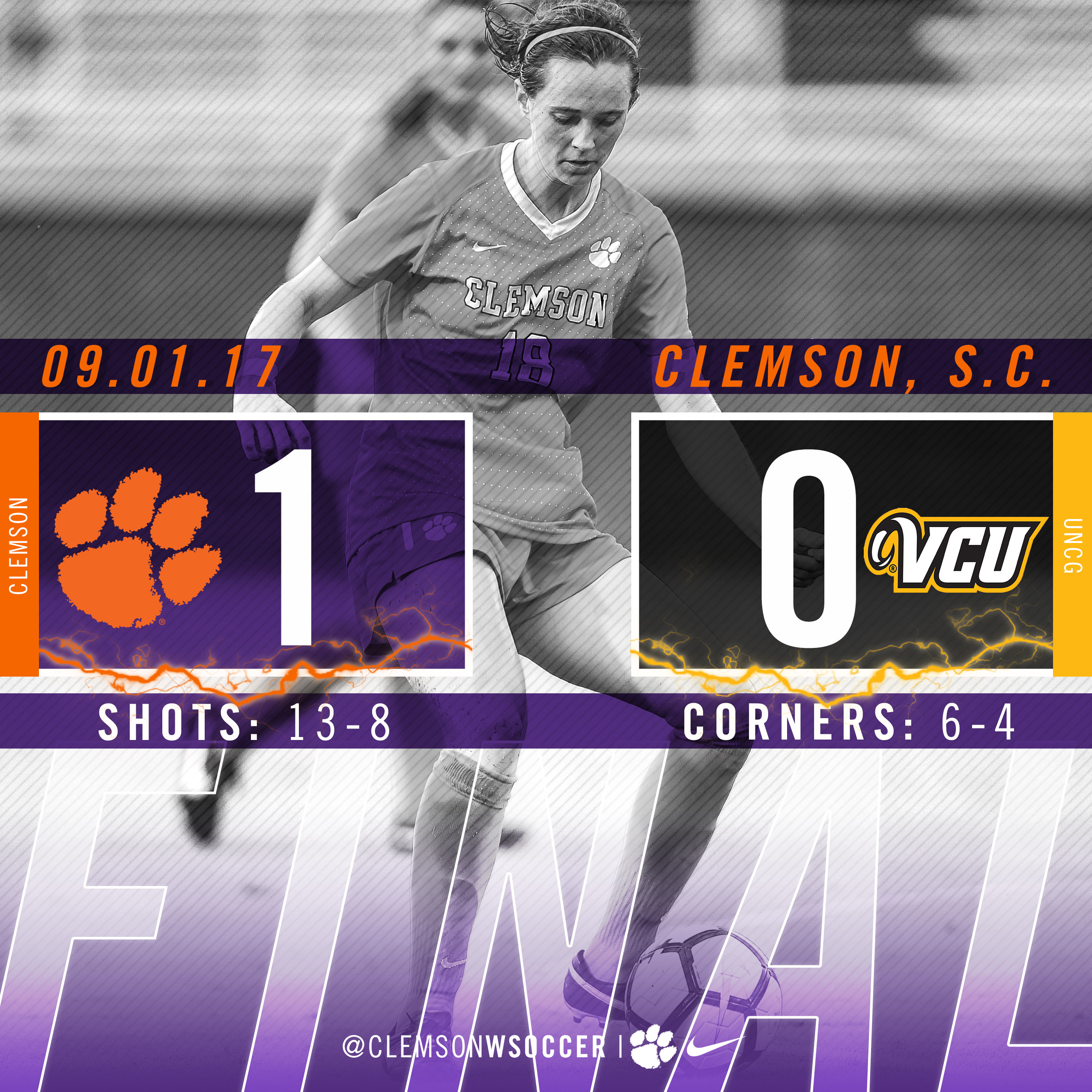 No. 8 Clemson Blanks VCU On First Friday