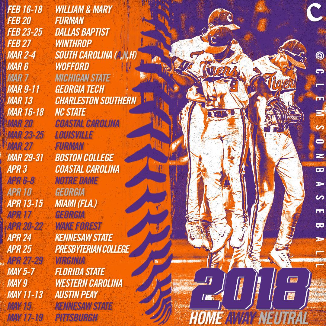 2018 Schedule Announced
