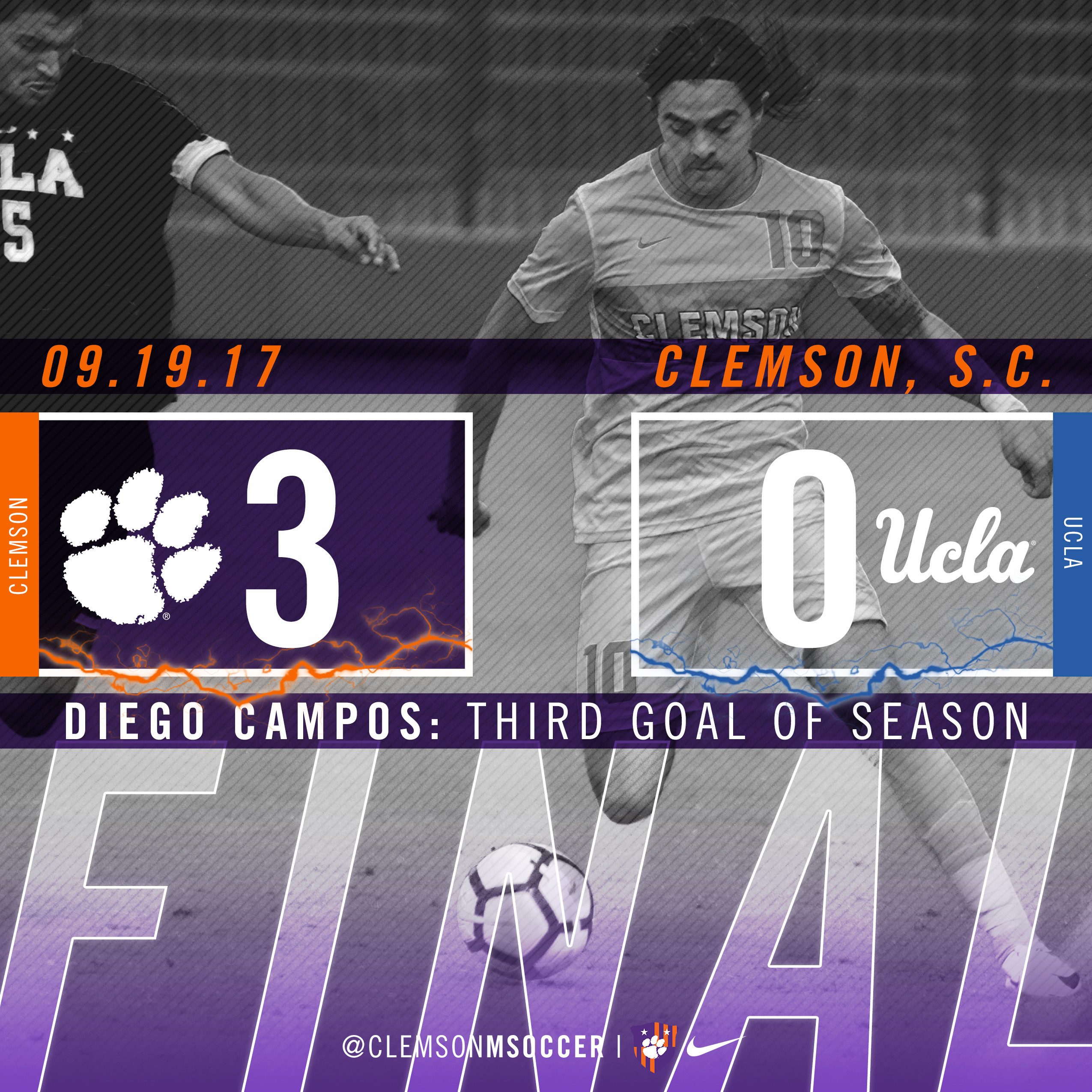 No. 8 Clemson Dominates UCLA 3-0