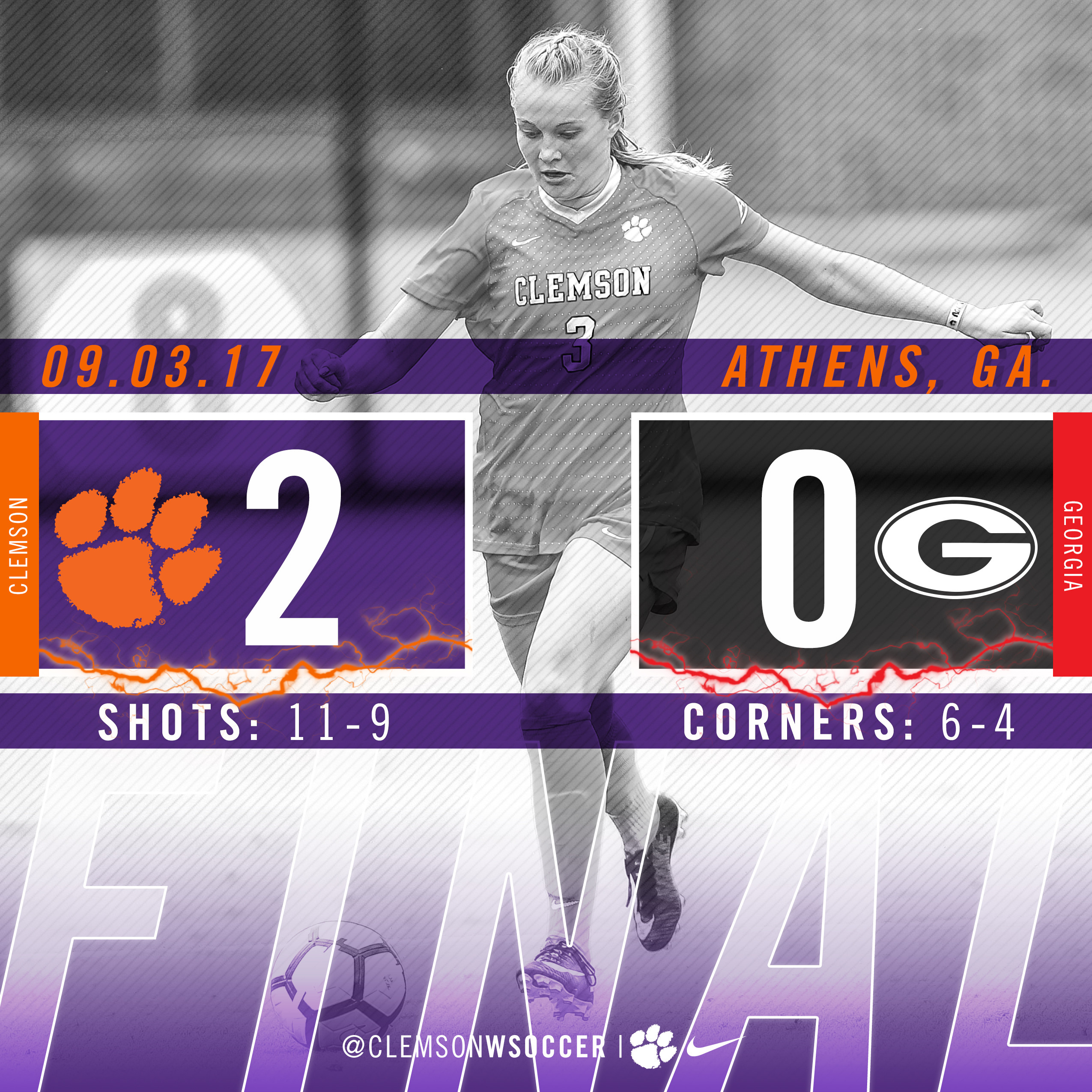 No. 8 Clemson Improves to 6-0 with 2-0 Win at Georgia Sunday