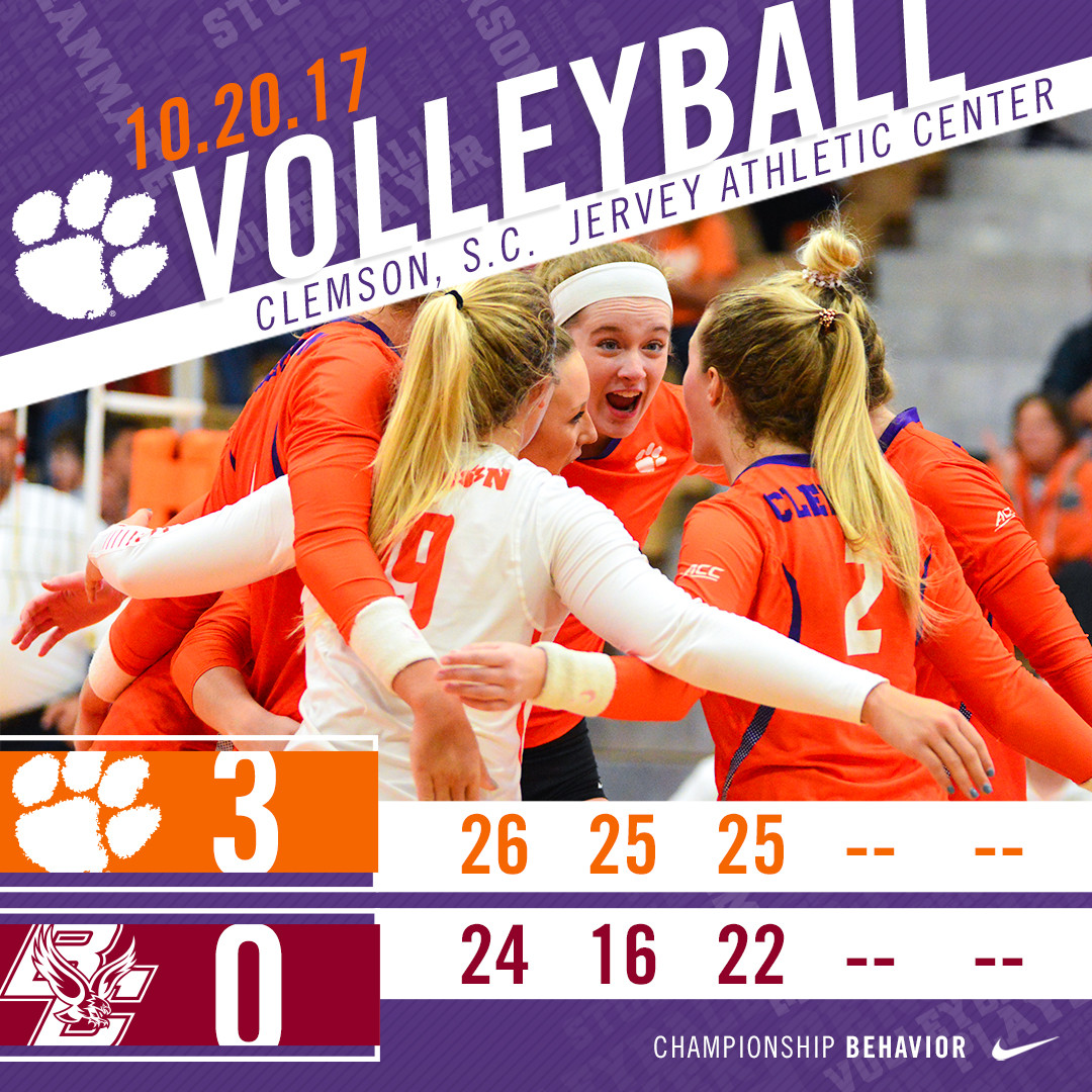 Volleyball Sweeps Boston College Friday