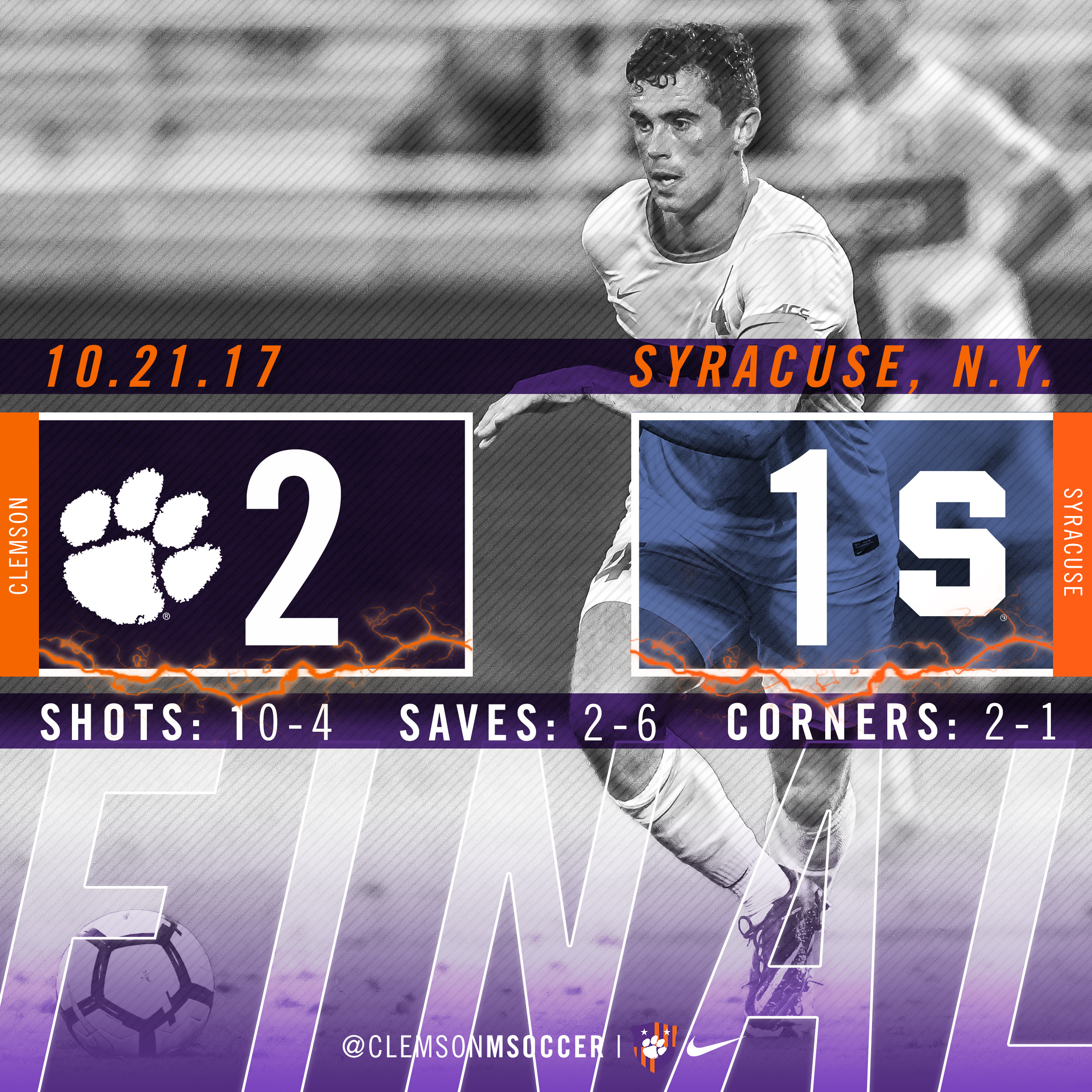 No. 7 Clemson Takes Down Syracuse 2-1