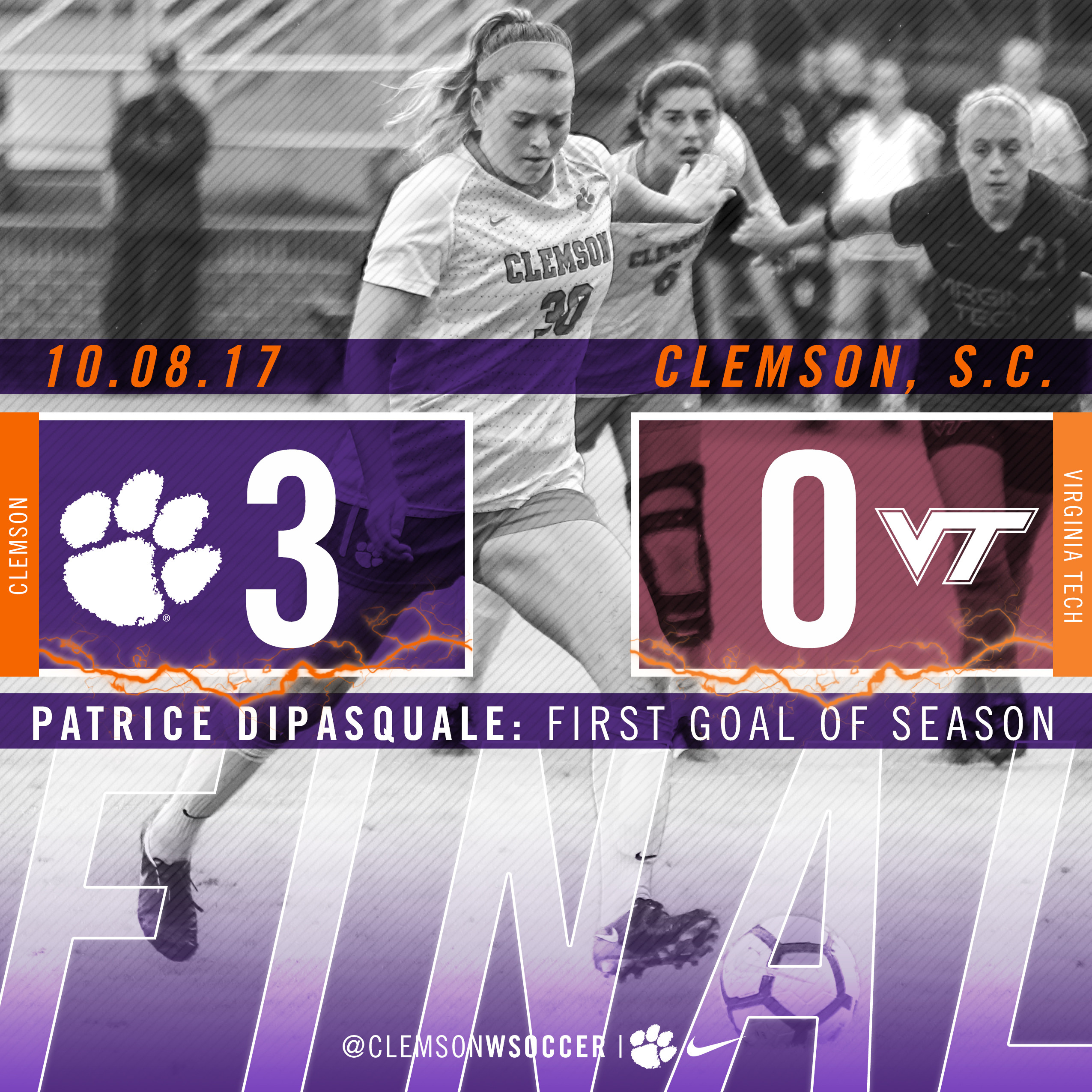 Clemson Topples Virginia Tech 3-0 on Sunday at Riggs