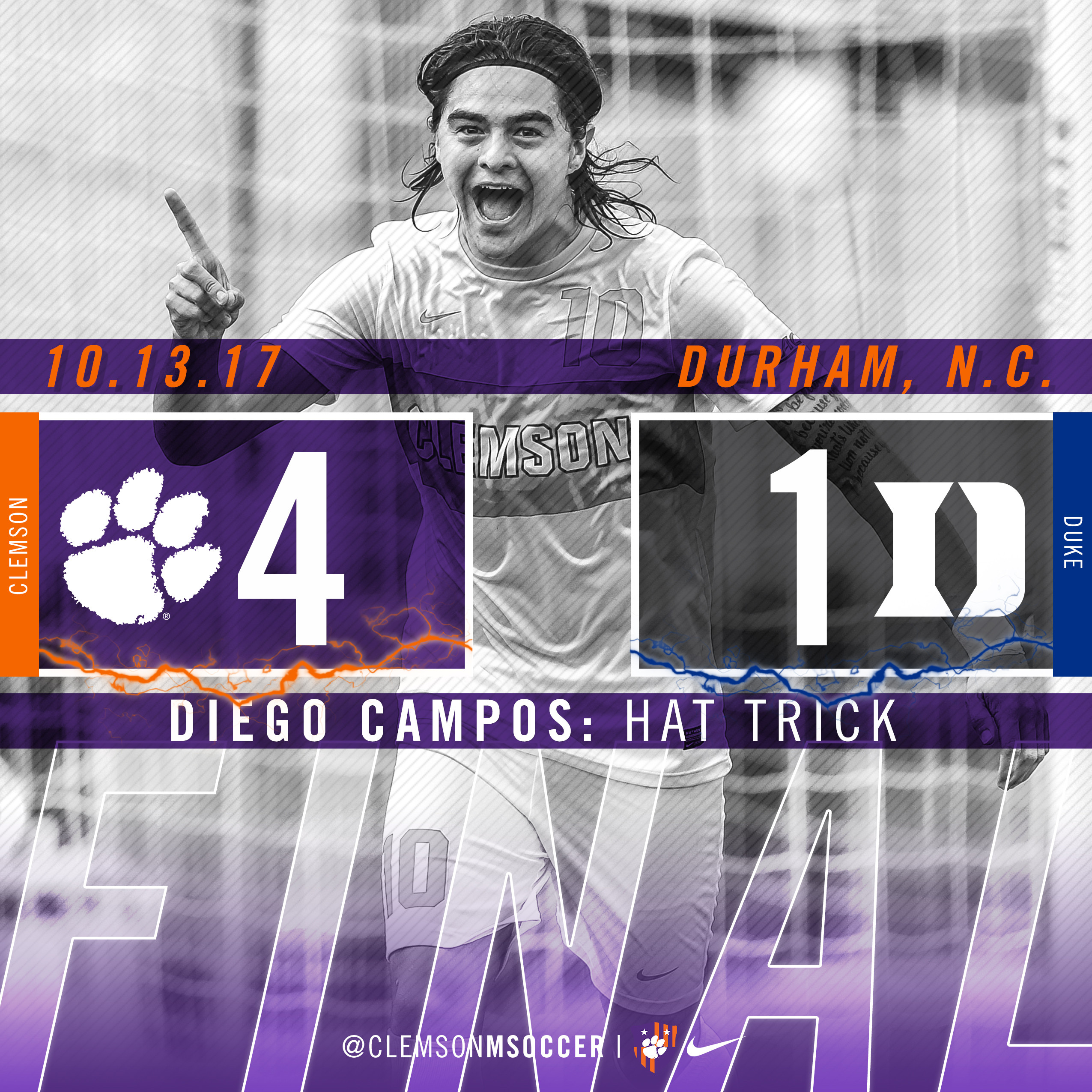 Campos' Hat Trick Powers No. 11 Clemson Past No. 16 Duke 4-1