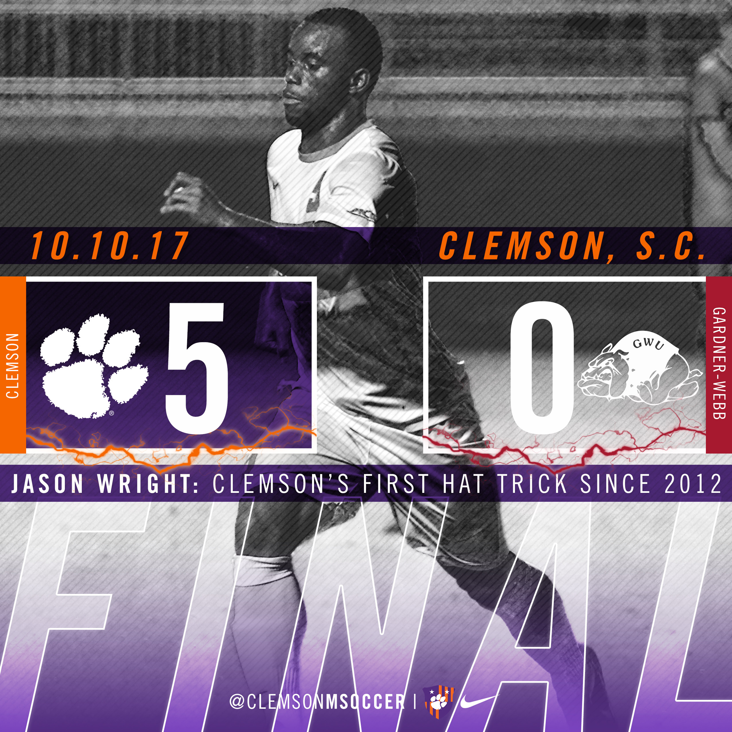Wright's Hat Trick Leads No. 11 Clemson Past Gardner-Webb 5-0