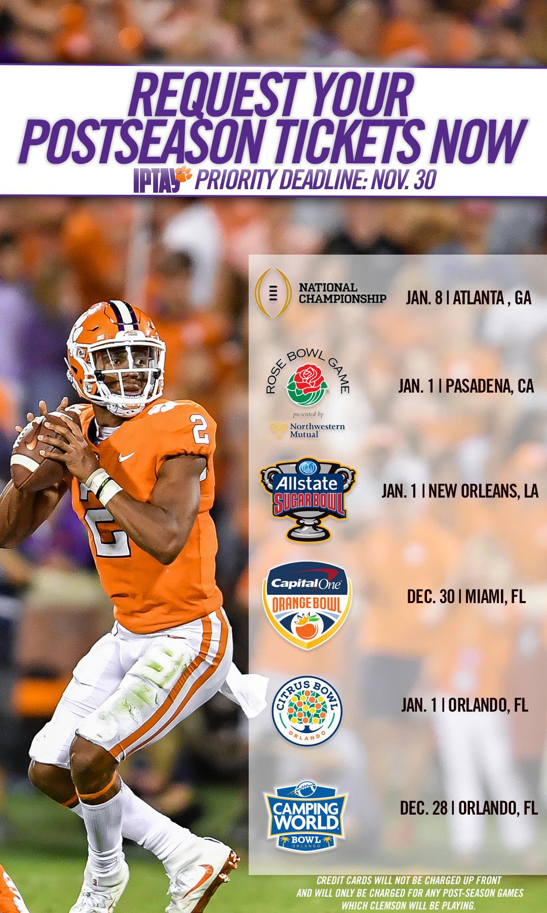 Clemson Postseason and Bowl Ticket Information