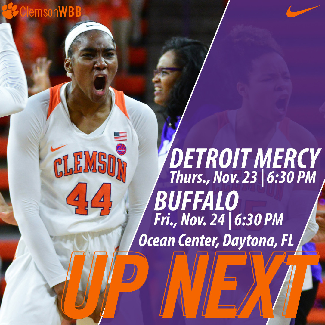 Clemson Faces Detroit Mercy Thursday & Buffalo Friday in Daytona