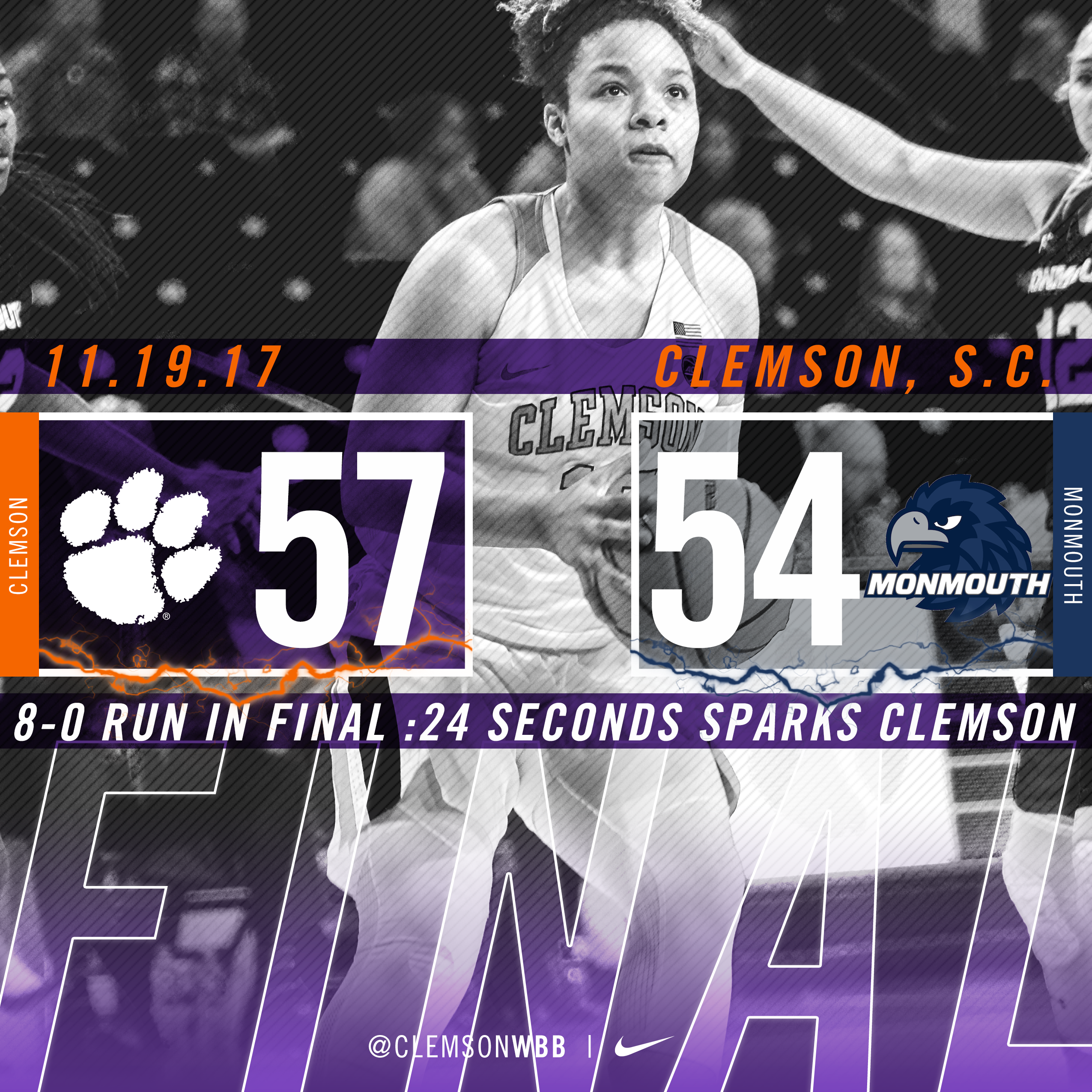 Eight Points in Final 20 Seconds Lift Tigers to 57-54 Win Over Monmouth Sunday