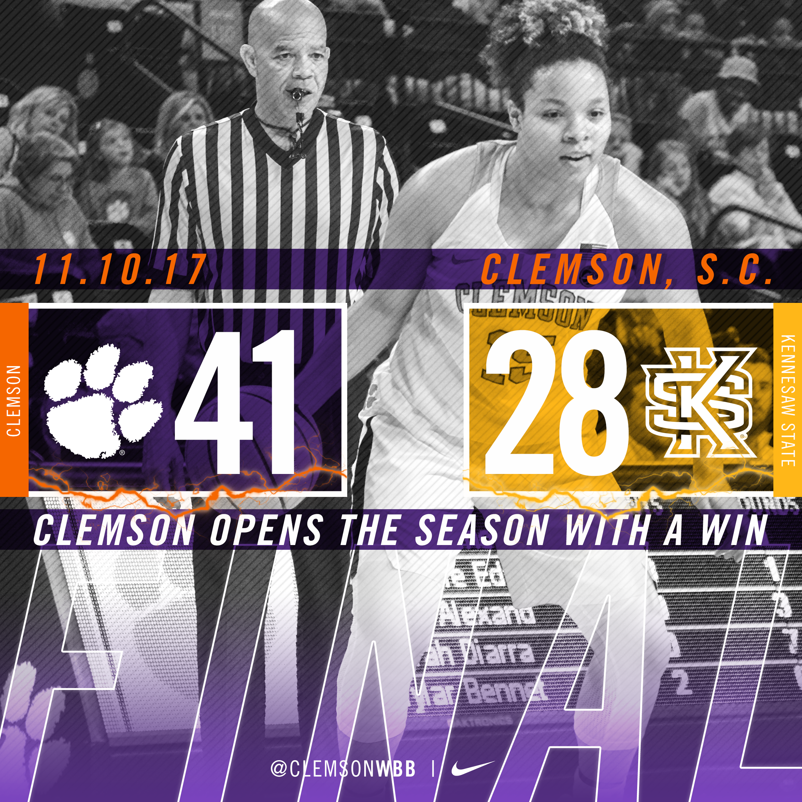 Tigers Open 2017-18 Campaign with Win over Kennesaw State