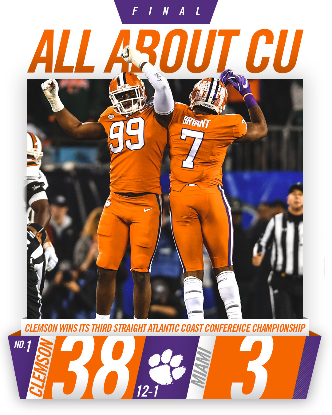 No. 1 Clemson Wins Third Straight ACC Championship