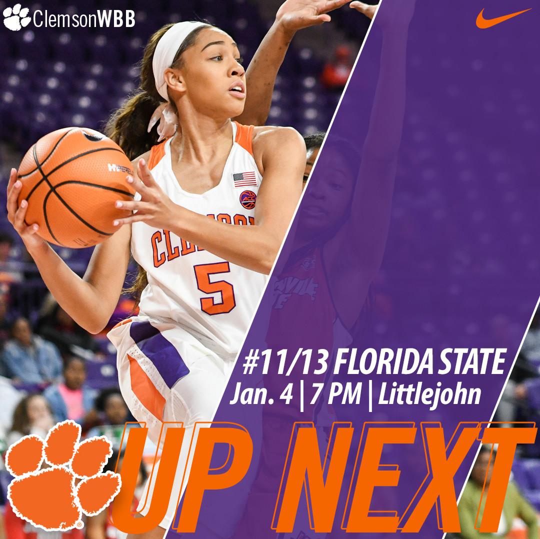 Clemson Hosts No. 11/13 Florida State Thursday