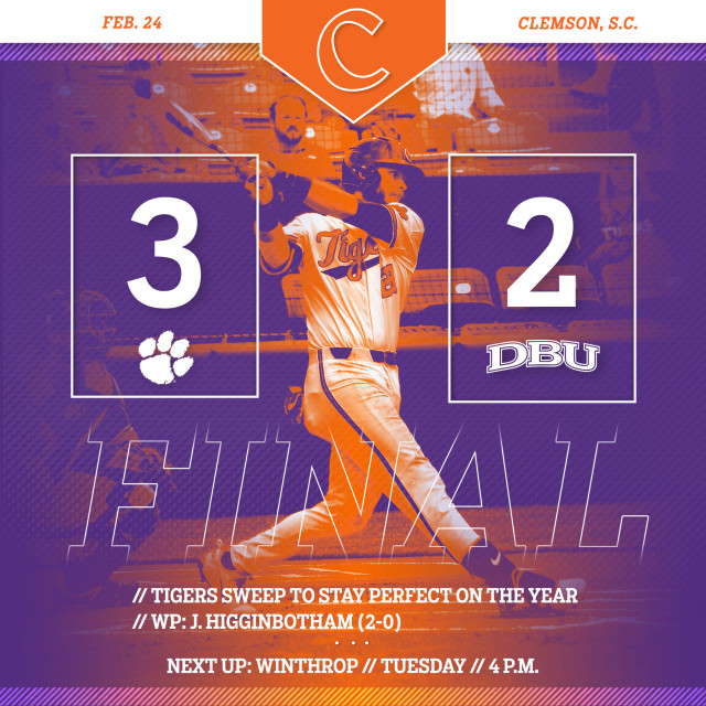 Clemson Sweeps No. 10 DBU With 3-2 Win in Game 2 of DH