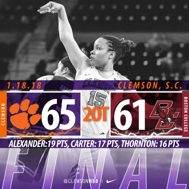 Tigers Win Double-Overtime Thriller vs. Boston College Thursday