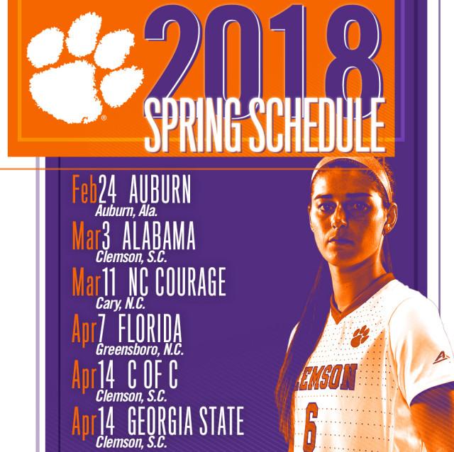 Clemson Women's Soccer 2018 Spring Schedule Announced