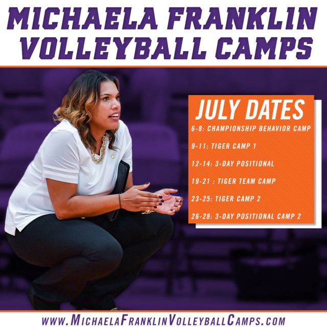 2018 Summer Dates Announced for Michaela Franklin Volleyball Camps