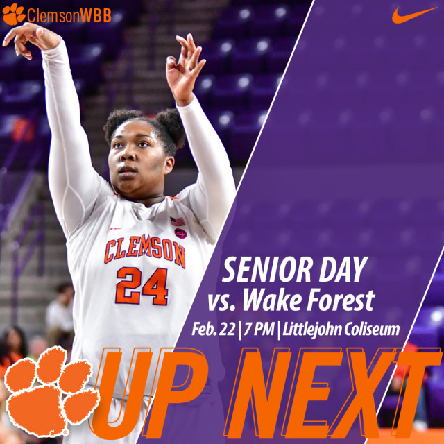Tigers Host Wake Forest Thursday; Senior Day for Atkism & Carter