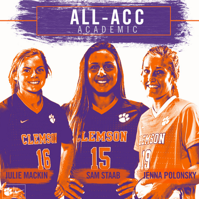 Three Clemson Players Named to 2017 All-ACC Academic Women's Soccer Team