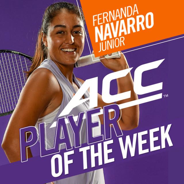 Fernanda Navarro Named ACC Player of the Week