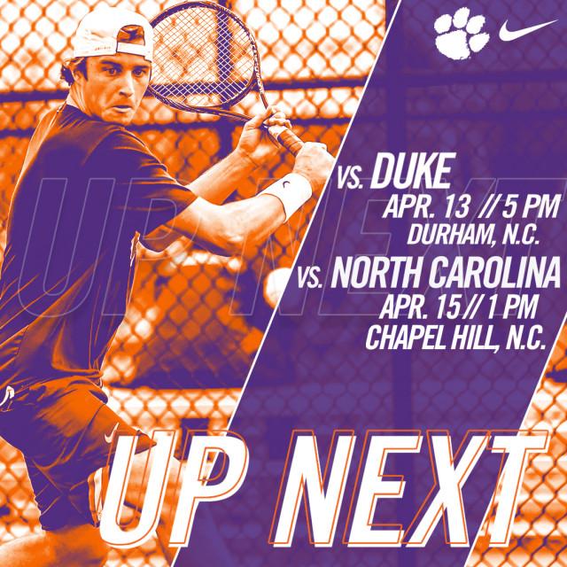 Clemson Travels to No. 20 Duke Friday, No. 8 North Carolina Sunday